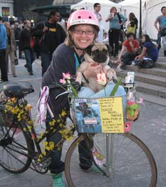 Nadette riding around with her pug Olive - photo by Barbara Ross