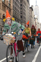 Time's Up! Bike Clowns clearing the bike lanes of cars - photo by Kaitlyn Tikkun
