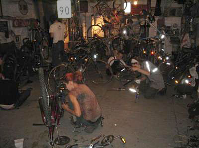 Bikes being worked on. Photo by Jym Dyer.