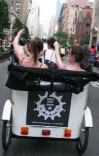 A pedicab gets into the spirit of BikeSummer.