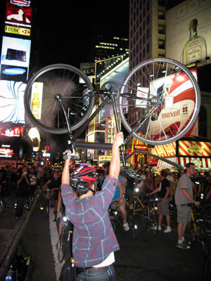 Critical Mass August 2008 Bike Lift in Time's Square by Adrian Kinloch