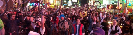 Halloween Critical Mass reaches Times Square. Photo by Michael Zaidman.