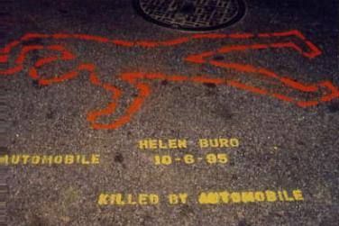 Killed by Automobile: chalk outline-style memorial stencil.