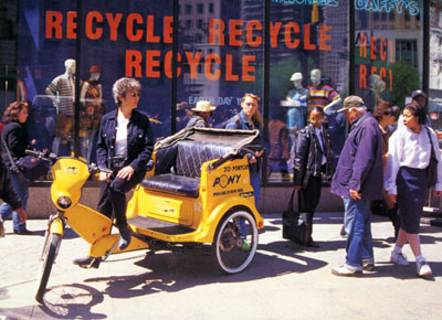 Recycle and try-a-cycle (a pedicab) on Earth Day, 1997.