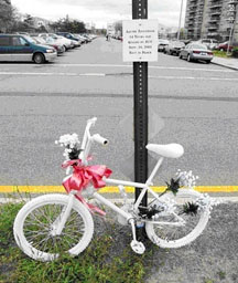Ghost Bike for Andre Anderson, 14-year-old killed by SUV.  Photo by Tod Seelie